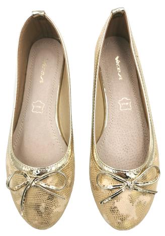 Baleriny damskie Q54-37 baletki złote wsuwane 38