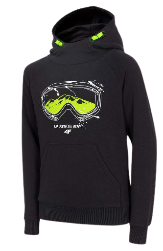 Bluza dziecięca 4F JBLM008 z kapturem czarna