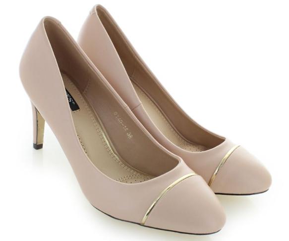 Buty damskie na obcasie 9140-14 czółenka beżowe