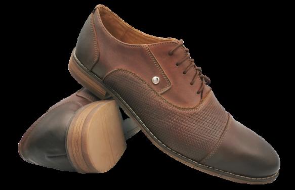 Buty eleganckie skórzane 710 brązowe