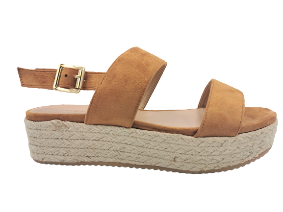 Sandały brązowe na koturnie wygodne  8132-17