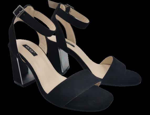 Sandały damskie czarne na słupku 2202-1
