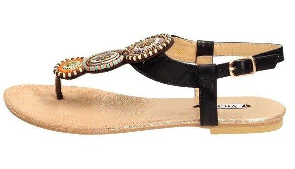 Sandały damskie japonki czarne 4111-1