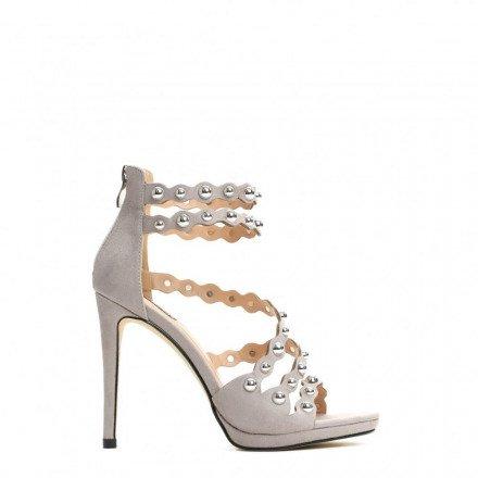 Sandały damskie na obcasie 9179-5 szare