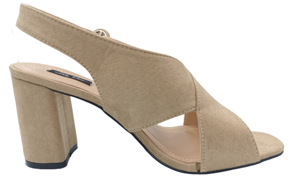 Sandały damskie na słupku beżowe 9220-14