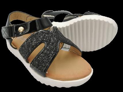 Sandały dziewczęce na rzepy czarne ZJ-105