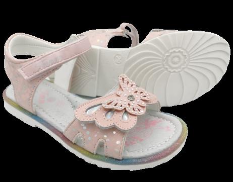 Sandały dziewczęce na rzepy różowe C-T72-34-B