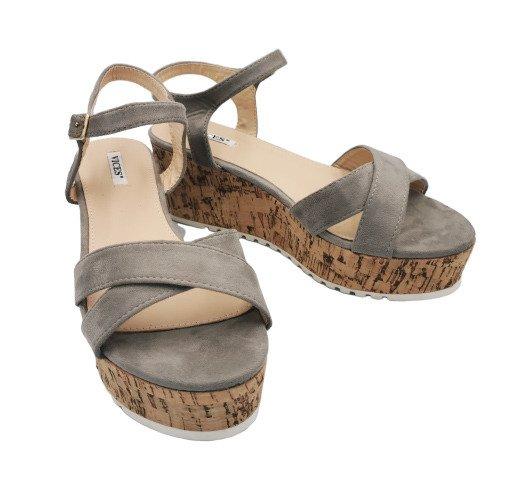 Sandały szare na koturnie wygodne 2081-5