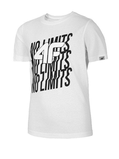 T-shirt chłopięcy 4F JTSM011 BIAŁY