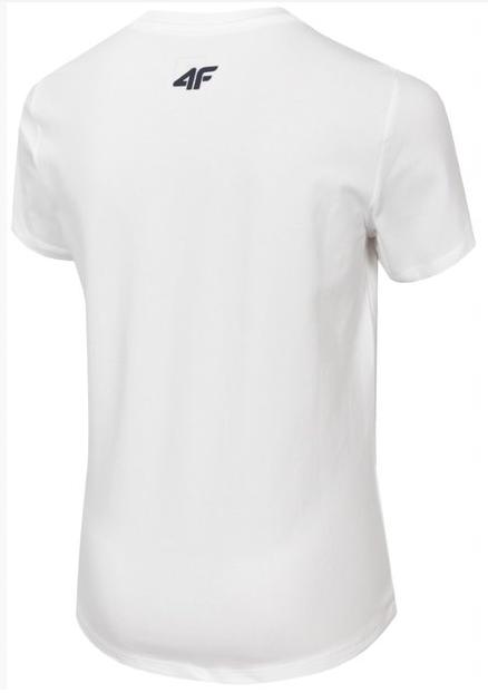 T-shirt chłopięcy 4F JTSM020 BIAŁY bawełniany