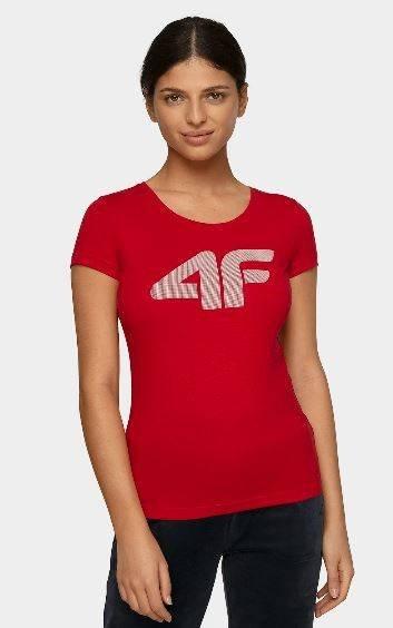 T-shirt damski 4F TSD005 bawełniany czerwony