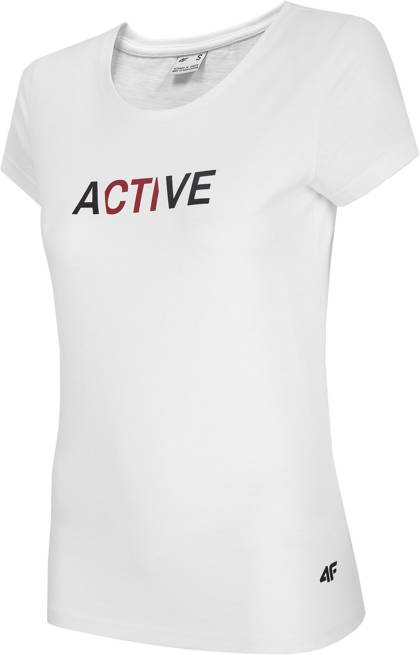 T-shirt damski 4F TSD019 bawełniany biały