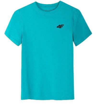 T-shirt dziecięcy 4F bawełniany JTSM001 turkus