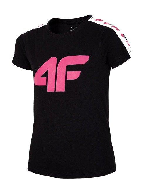 T-shirt dziewczęcy 4F czarny