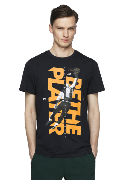 t-shirt męski 4FTSM012 koszulka bawełna GRANAT